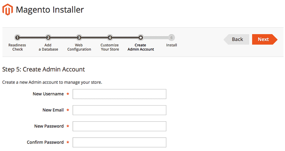Create Magento Admin Account