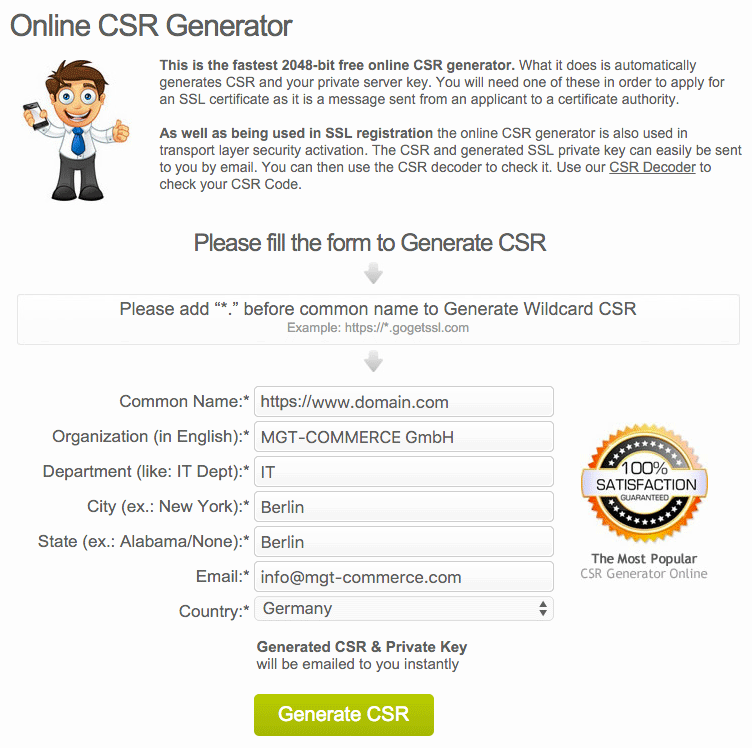 Create CSR and Private Server Key