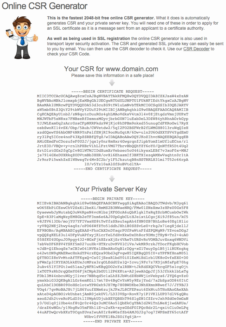 Generated CSR and Private Key