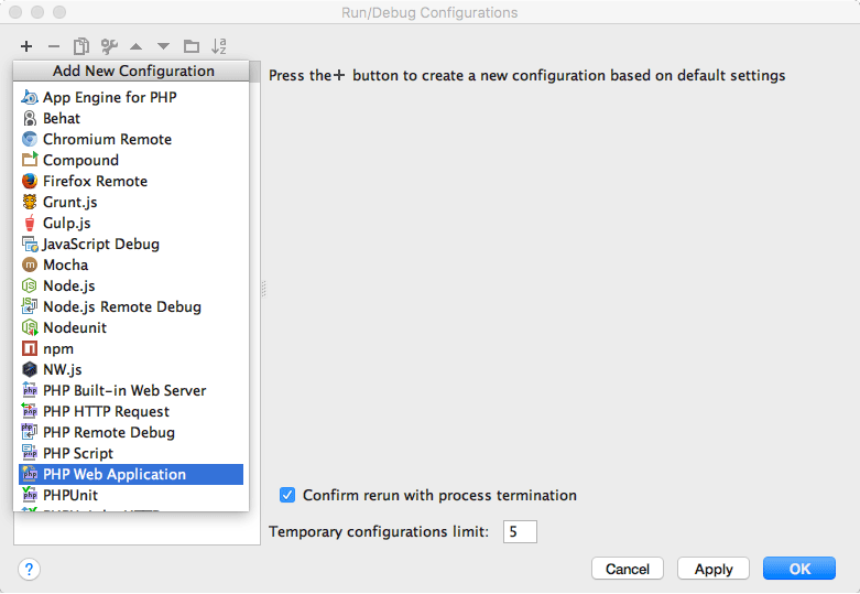PhpStorm PHP Web Application Configuration